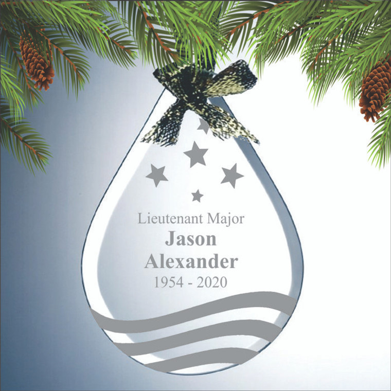 Engraved Teardrop Military Memorial Ornament