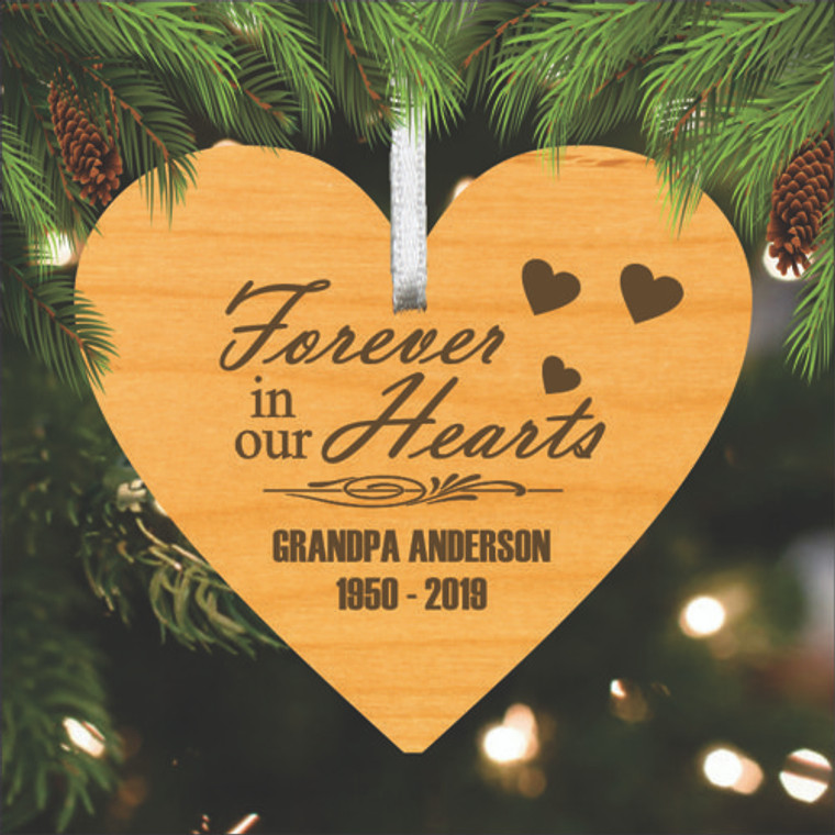 Heart Personalized Wood Memorial Ornament