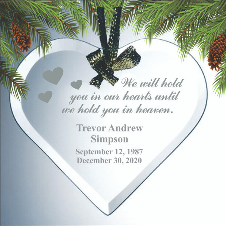We Will Hold You In Our Hearts Personalized Memorial Ornament