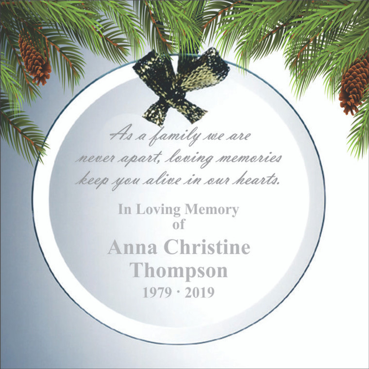 Round Beveled Glass Personalized Memorial Ornament
