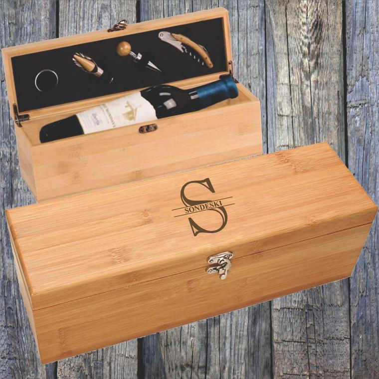 Personalized Bamboo Wine Box Gift Set