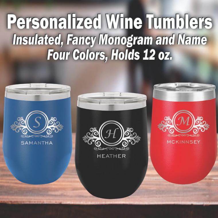 Monogram & Scrolls Personalized Wine Trumblers