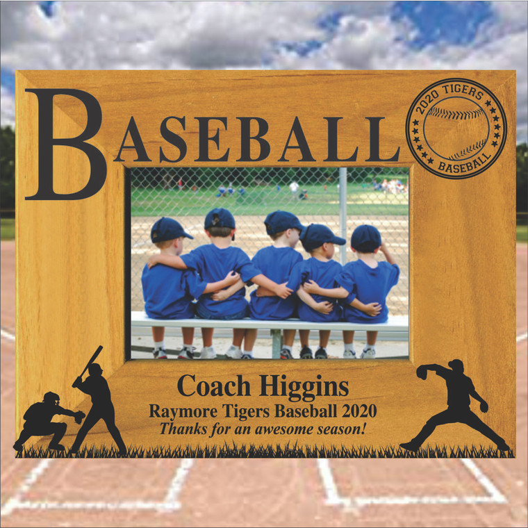 Baseball Coach Gift Personalized Picture Frame  - Personal Thank You Message