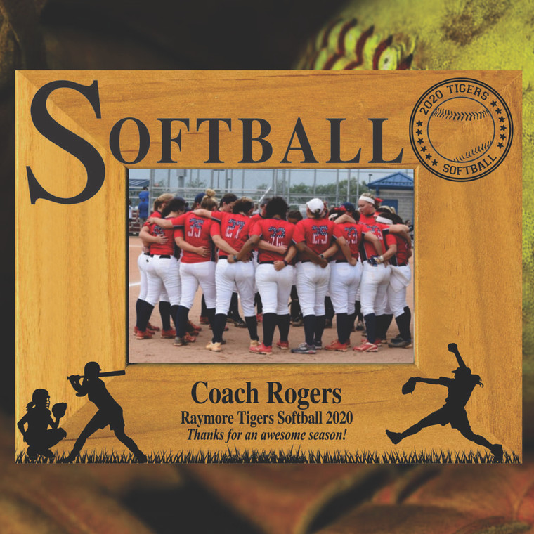Softball Coach Gift Personalized Picture Frame - With Personal Thank You Message