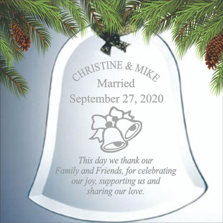 Wedding Bells Ornament - Personalized Wedding Favors