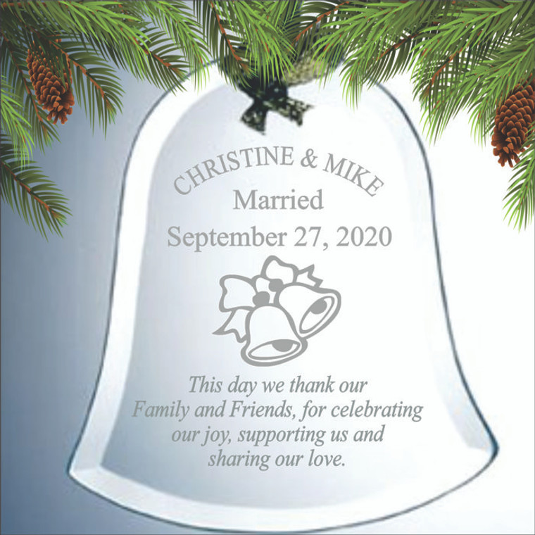 Wedding Bells Ornament - Personalized Wedding Favors