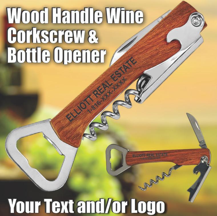 Wine Tool Corkscrew & Bottle Opener - Any Text, Logo