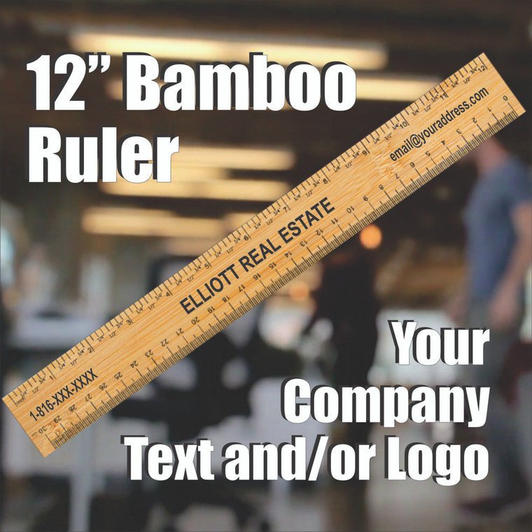 """12"""" Bamboo Ruler - Personalized With  Any Text, Logo"""