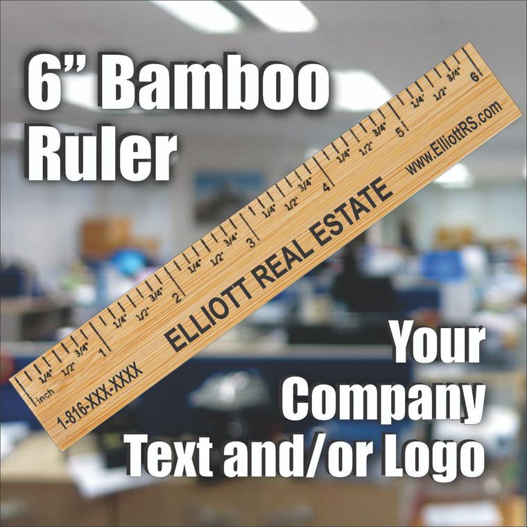 """6"""" Bamboo Ruler - Personalized With  Any Text"""