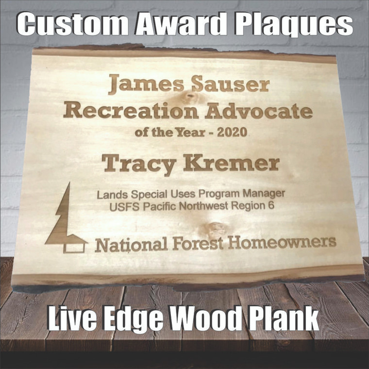 Custom Live Edge Wood Plank Plaque - Any Text, Logo