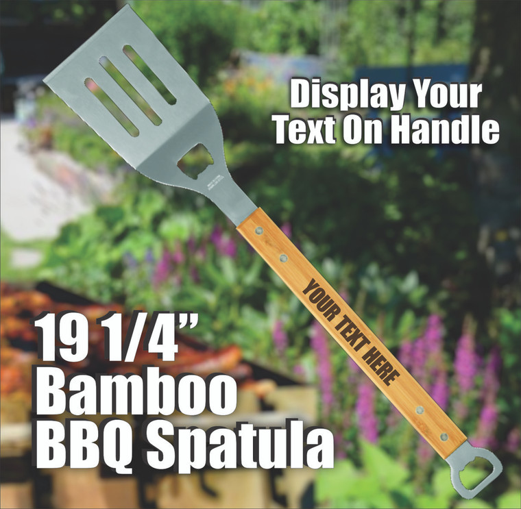 ersonalized Bamboo BBQ Spatula with Bottle Opener