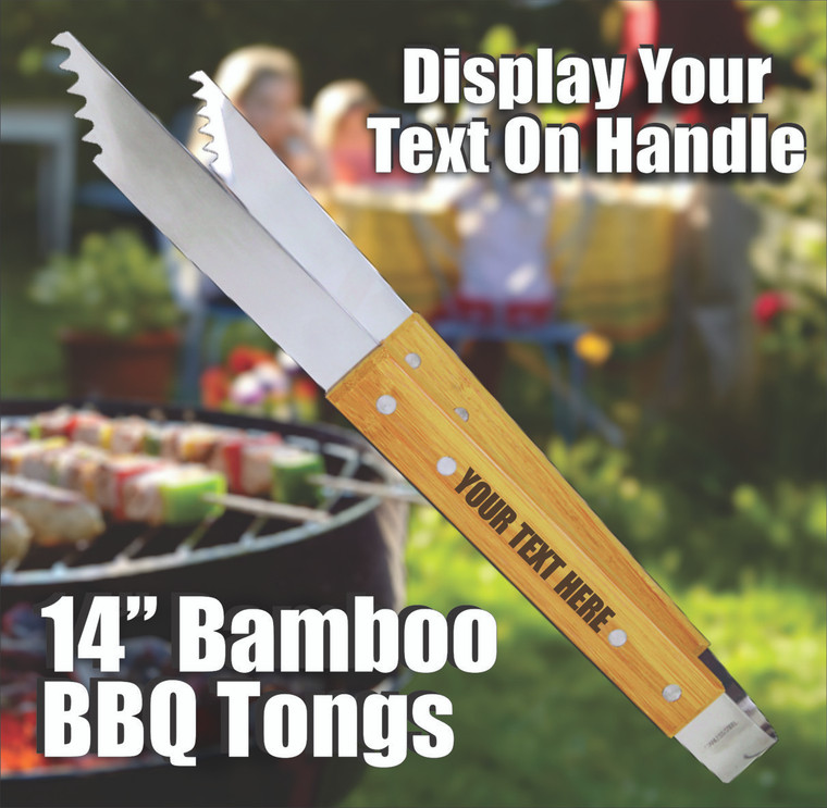 Personalized Bamboo BBQ Tongs