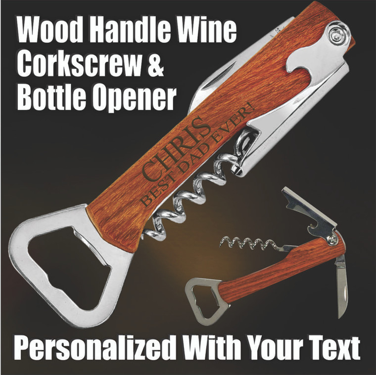Wine Tool Corkscrew & Bottle Opener - Personalized Gift For Dad