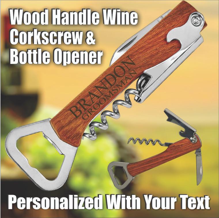 Wine Tool Corkscrew & Bottle Opener - Personalized Groomsmen Gifts