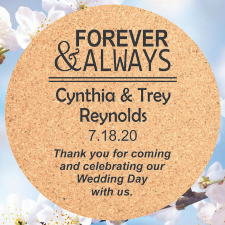 Forever & Always Cork Coasters - Personalized Wedding Favors