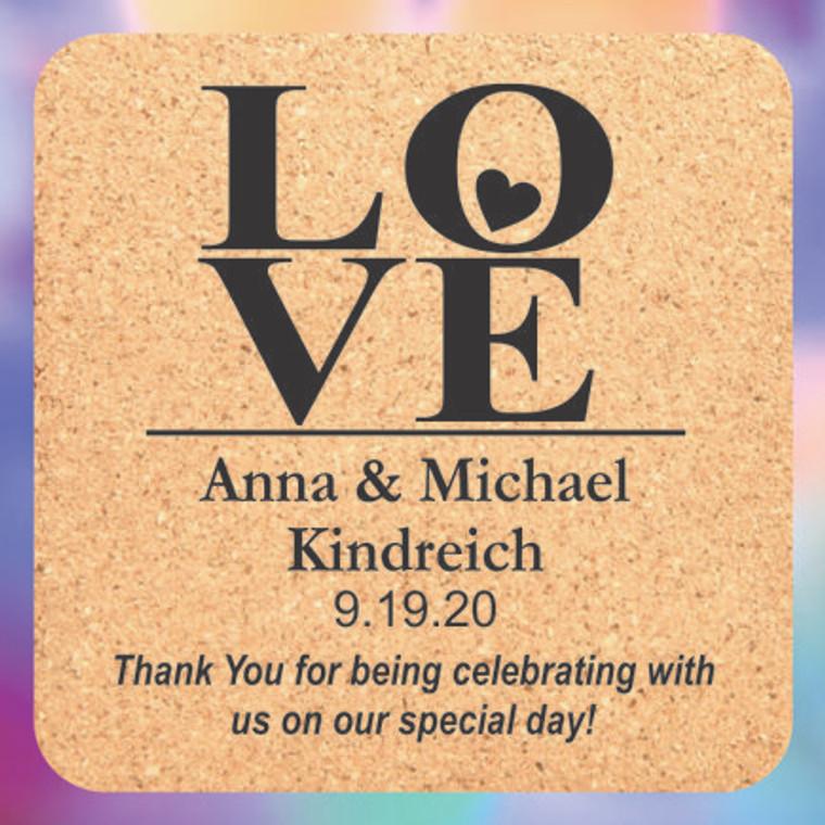 Love Wedding Favor Coasters