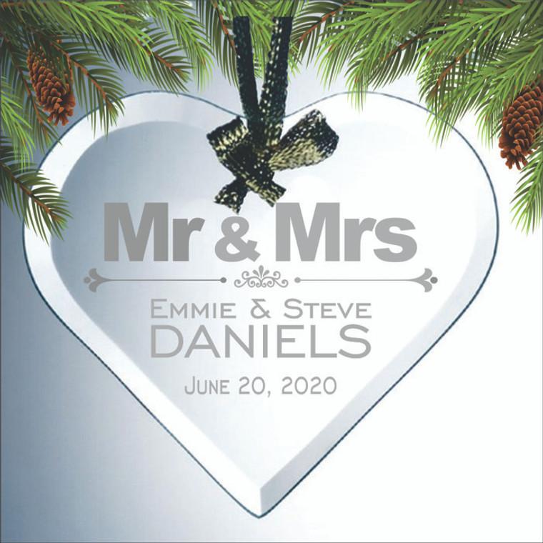 Mr & Mrs Engraved Heart Ornament Wedding Favors