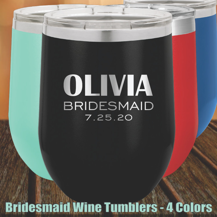 Bridesmaid Personalized Wine Tumbler