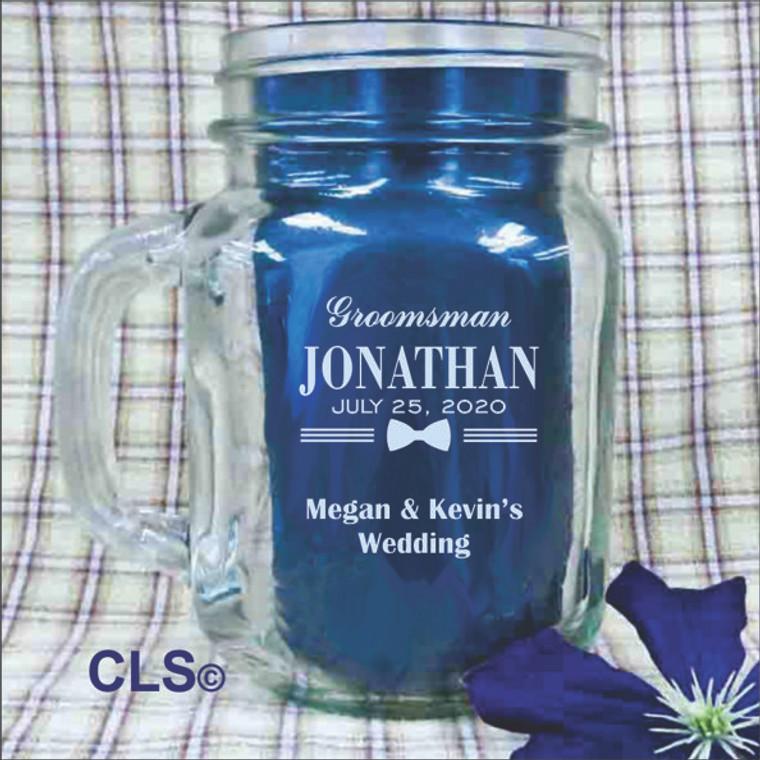 Groomsman Engraved Mason Jars - Personalized Groomsmen Gifts