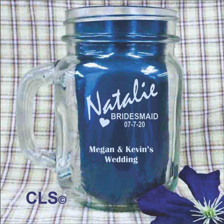 Bridesmaid Engraved Mason Jars - Personalized Bridesmaid Gifts