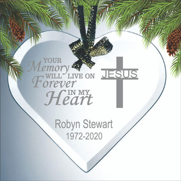 Personalized Engraved Glass Heart Memorial Ornament - Your Memory Lives Forever In My Heart