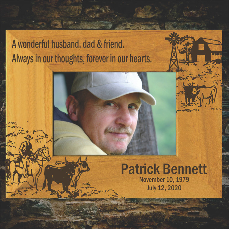 Gathering the Herd Engraved Wood Memorial Picture Frame