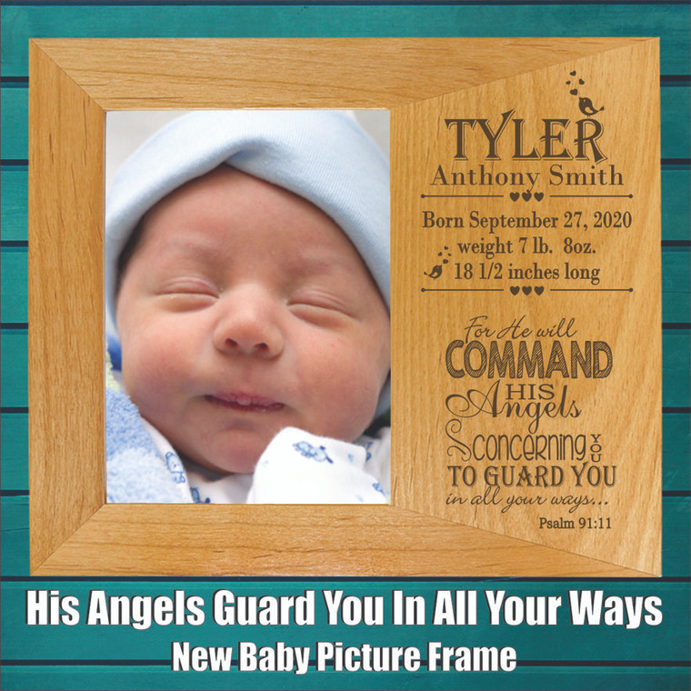 His Angels Guard You In All Your Ways New Baby Picture Frame