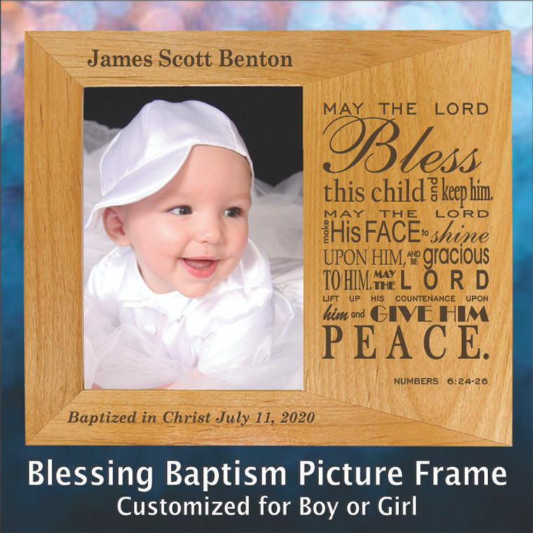 May the Lord Bless This Child Personalized Baptism Frame - Customized for Baby Boy