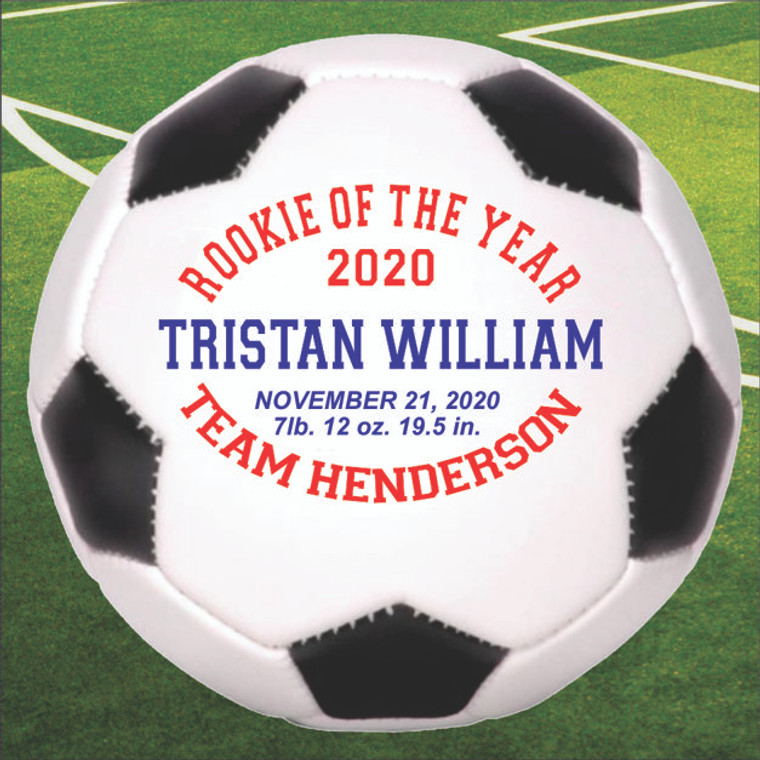 Baby Stats Personalized Soccer Ball - Rookie of the Year