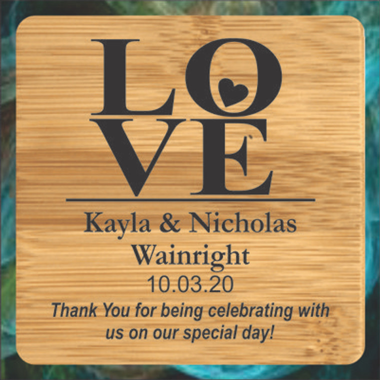 Love Square Bamboo Coasters - Personalized Wedding Favors