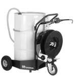 SAMOA Pumpmaster 2, 3:1 Ratio Air Operated Trolley Mounted Mobile Oil Dispenser for 205 Litre Drums with 10m Single Arm Hose Reel