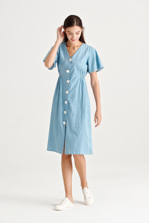 Big Button Denim Dress