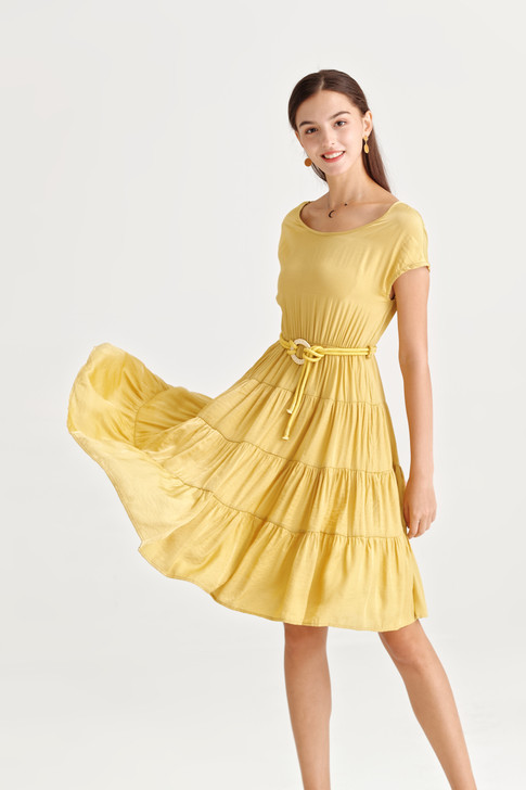 Belted Tiered Dress