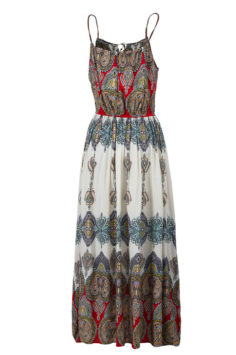 Boho Print Leather Strap Dress