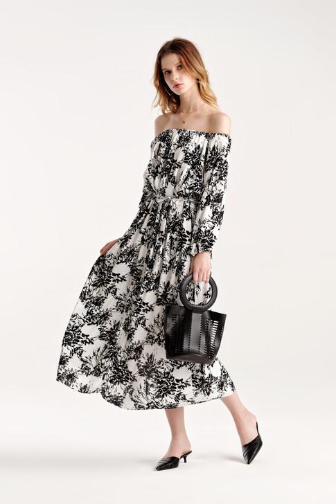 Print Volume Sleeve Dress