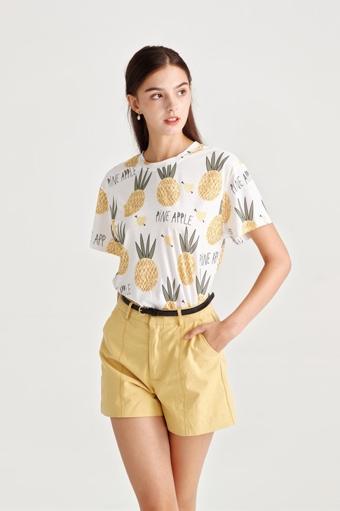 Pineapple Print Jersey Top