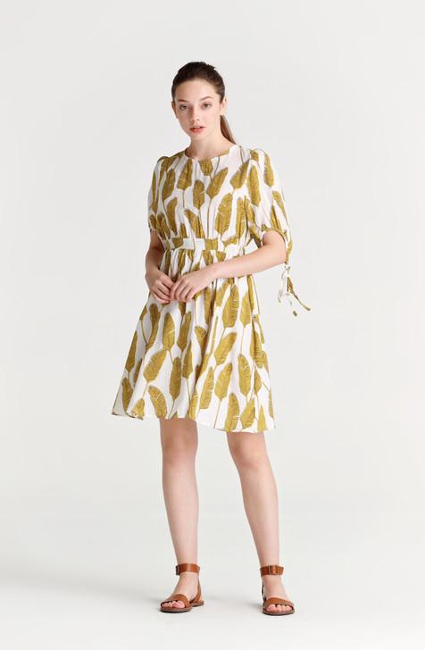 Leaf Print Mini Dress