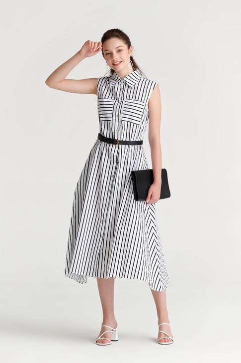 Stripe Sleeveless Shirt Dress