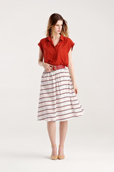 Multi Stripe Belted Skirt