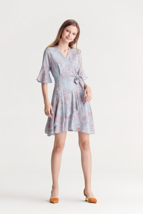 Print Uneven Hem Dress