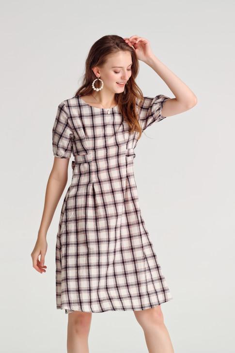Check Volume Sleeve Dress