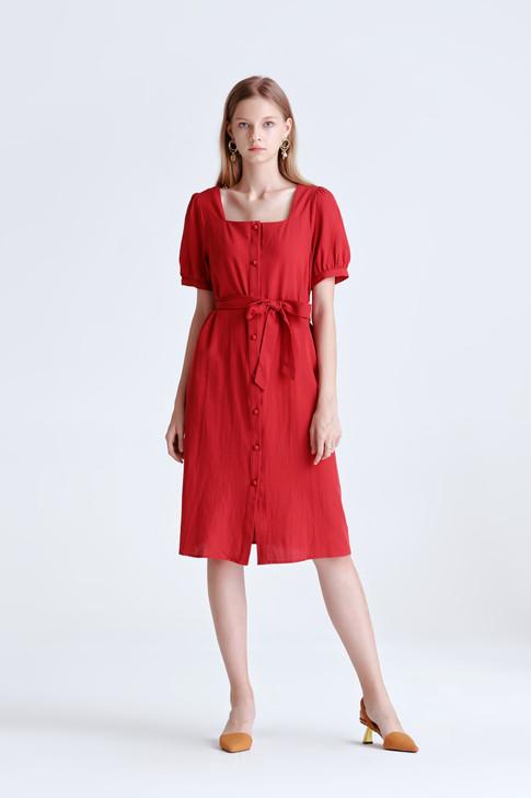 Volume Sleeve Button Dress