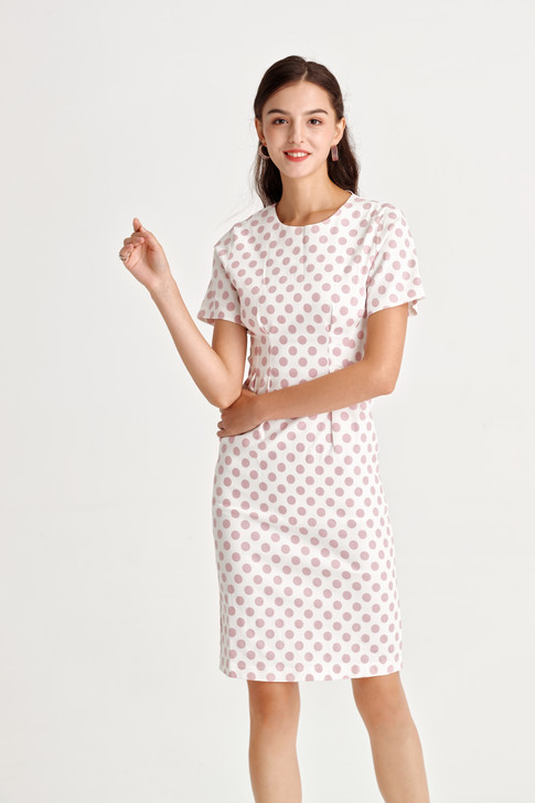 Dot Waist Tucked Dress