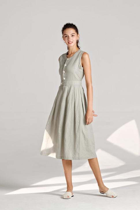 Linen like Pleats Dress