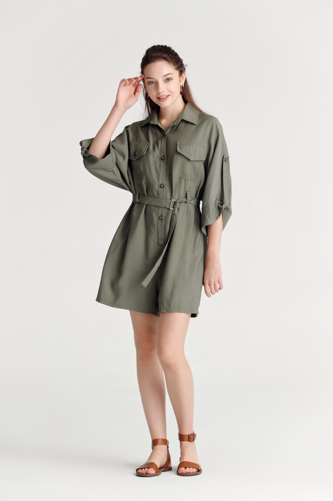 Long Sleeve Safari Playsuit