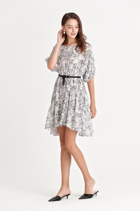 Leaf Print Drop Shoulder Dress
