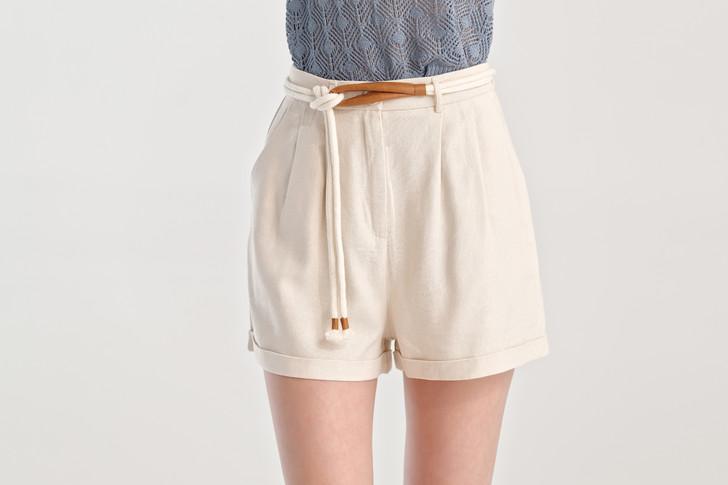 Linen like Belted Shorts