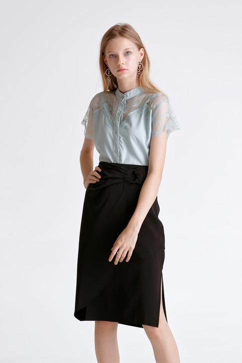 Lace-Trim Short Sleeve Shirt