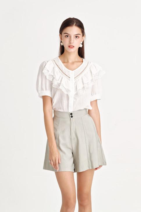 Linen like Lace-Trim Shirt
