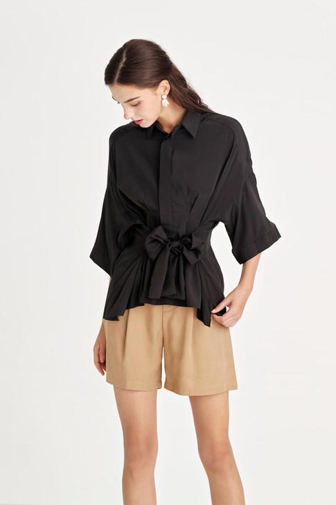 Dropped-Shoulder Waist-Tie Shirt